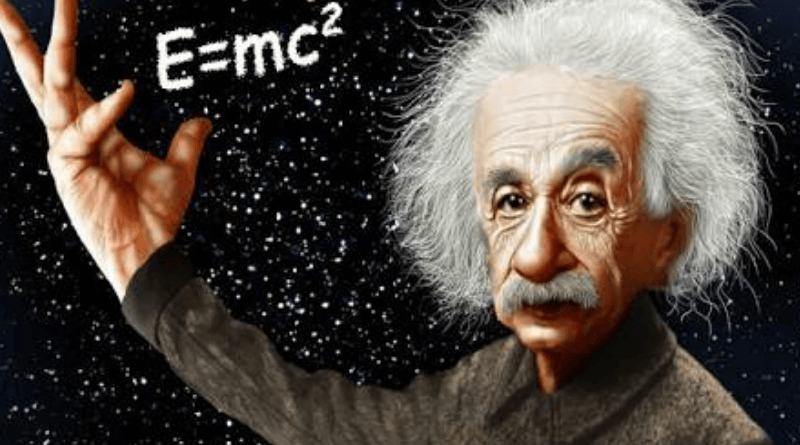 Albert Einstein with his famous E=mc2 Equation